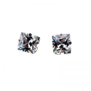 KySienn 8mm Square Zircon Magnetic Stud Earrings