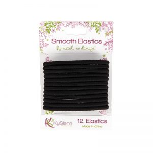 KySienn Smooth Hair Ties 12 Pack Black
