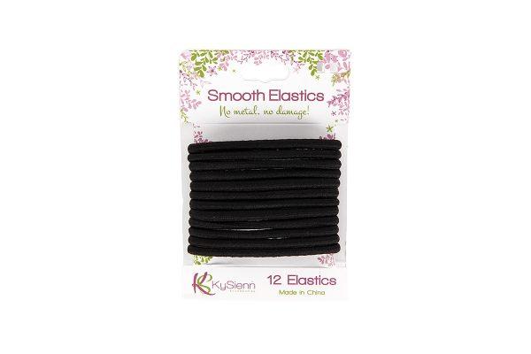KySienn Smooth Hair Ties 12 Pack Black