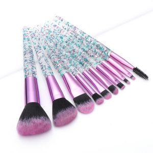 KySienn 10 PCS Purple/ Green Glitter Make Up Brush Set