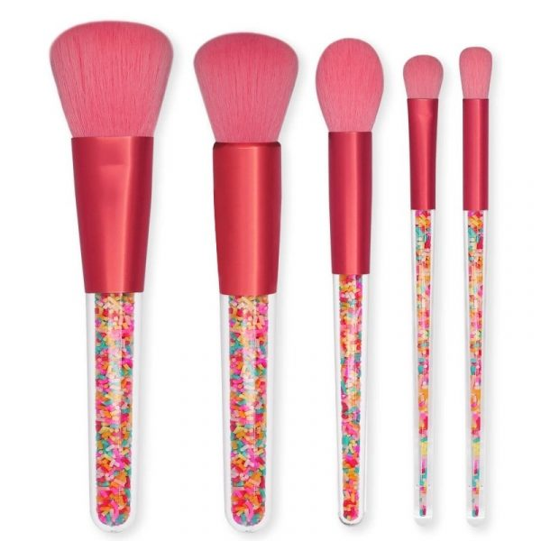 5 Pc Rose Pink Lollipop Candy Make Up Brush Set